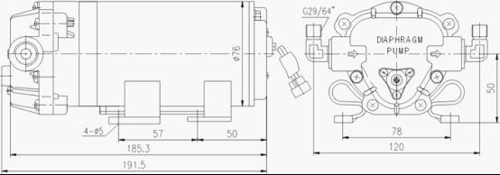dp-125微型隔膜泵安装尺寸图