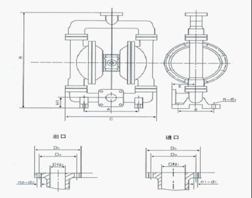qby型气动隔膜泵结构图图片